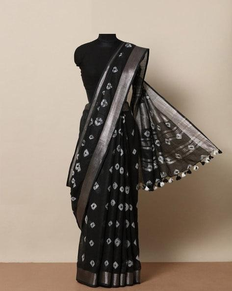 New look Black and White color Linen Designer Saree