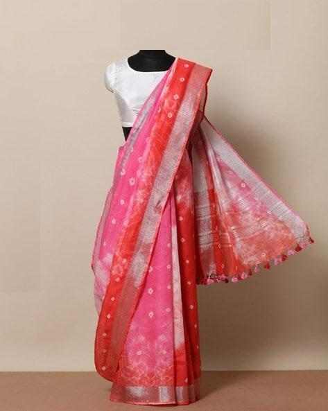 Awesome pink  Color Linen Designer Saree