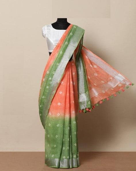 Glorious green & orange Color Linen Designer Saree