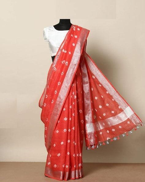 Admirable orange  Color Linen Designer Saree