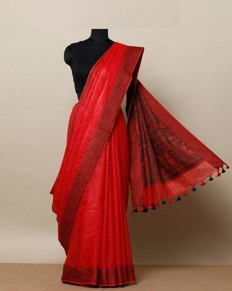 New look red Color Linen Designer Saree