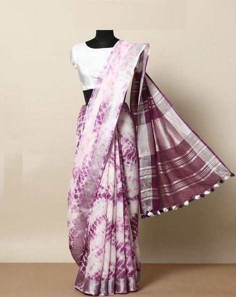 Adhesive multi  Color Linen Designer Saree