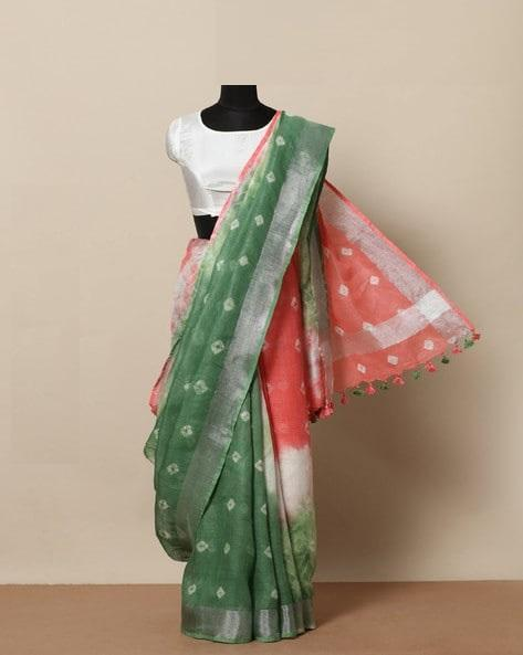 Adhesive Peach and Green color Linen Designer Saree