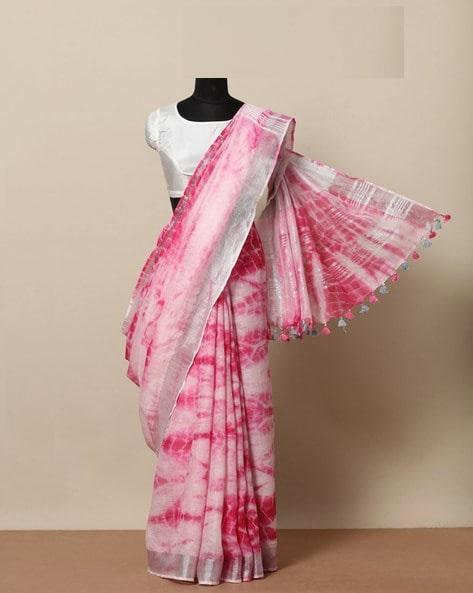 New Look Pink Color Linen Designer Saree