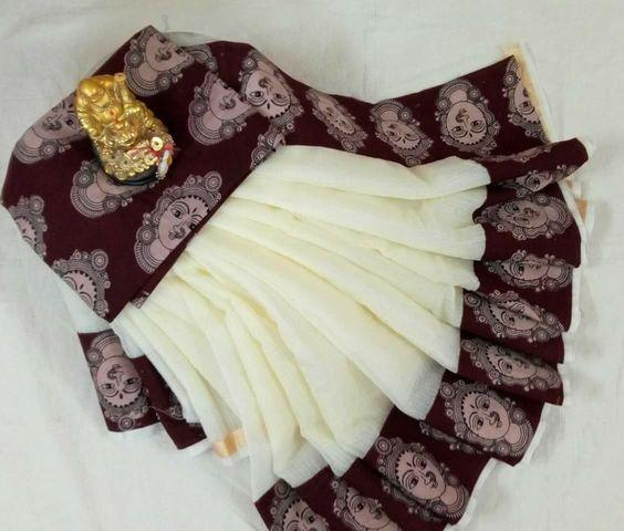 Beautiful Brown And White color Linen Designer Saree
