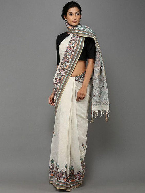 Adhesive off white  Color Linen Designer Saree