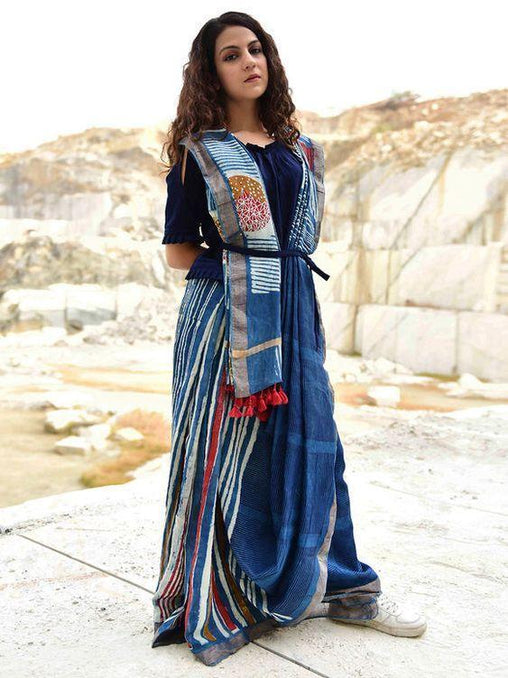 New look Blue Color Linen  Designer Sareee