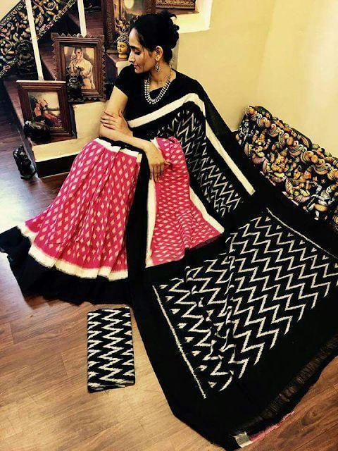 New look Black and Red Color Linen  Designer Sareee