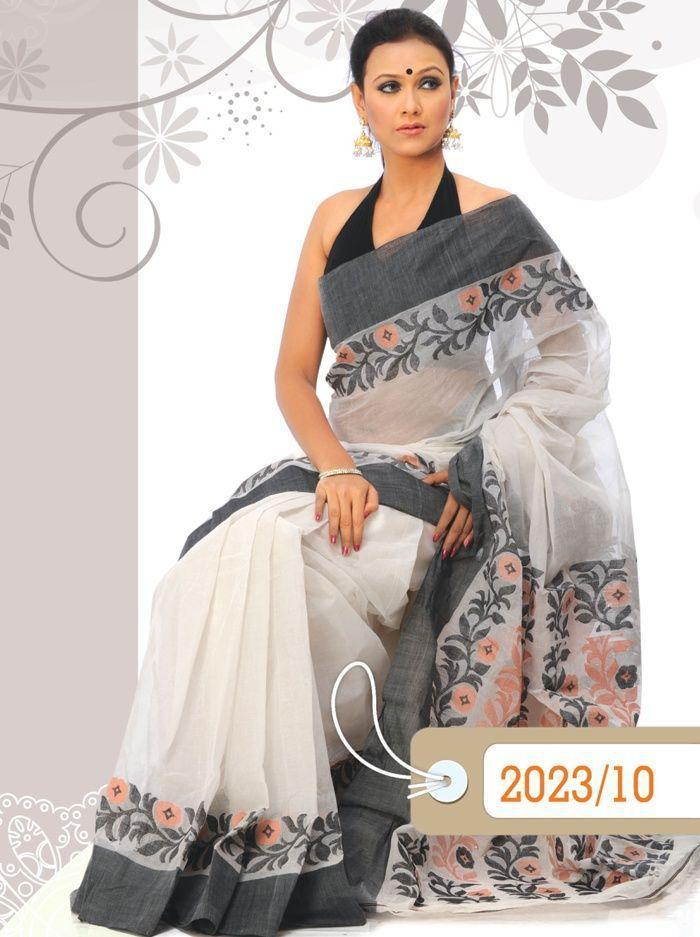 LOVELY WHITE AND GREY COLOR LINEN DESIGNER SAREE