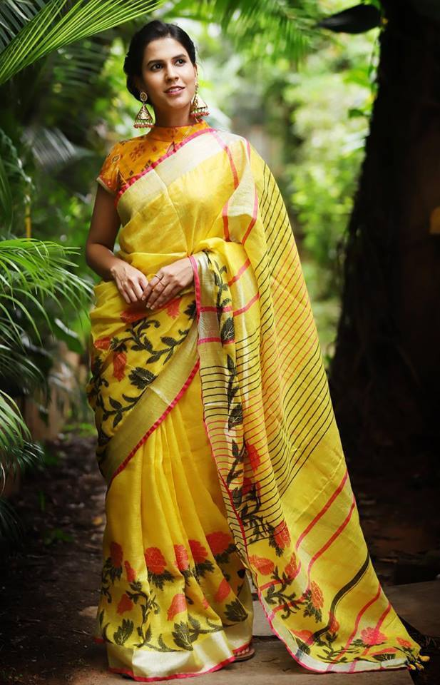 AWESOME YELLOW COLOR LINEN DIGITAL DESIGNER SAREE