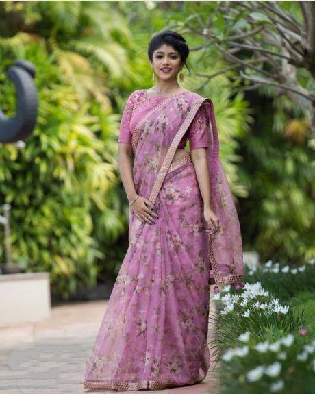 ADHESIVE  PINK COLOR LINEN DESIGNER SAREE