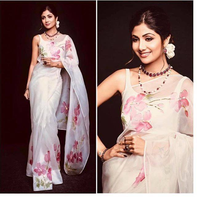 PRETTY OFF WHITE COLOR LINEN FLORAL DESIGNER SAREE