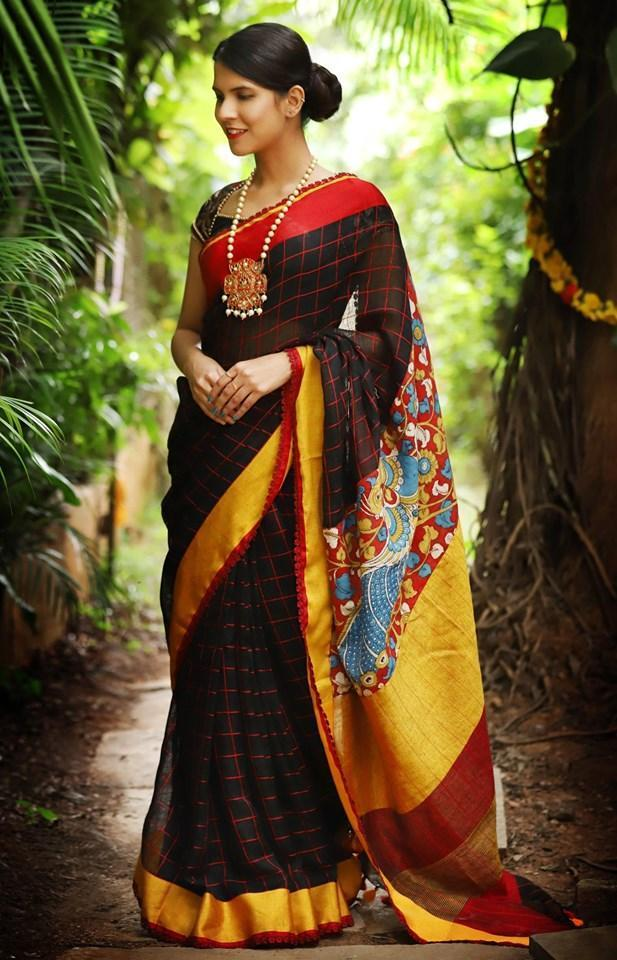 Graceful Black  Color Party wear Linen Digital Printed Sari