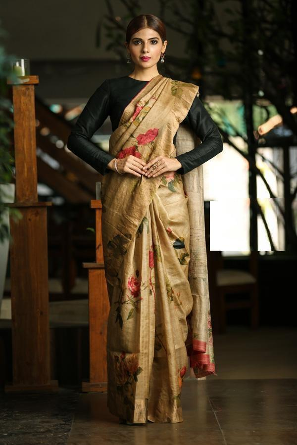 Multi colored Linen Digital printed Sari