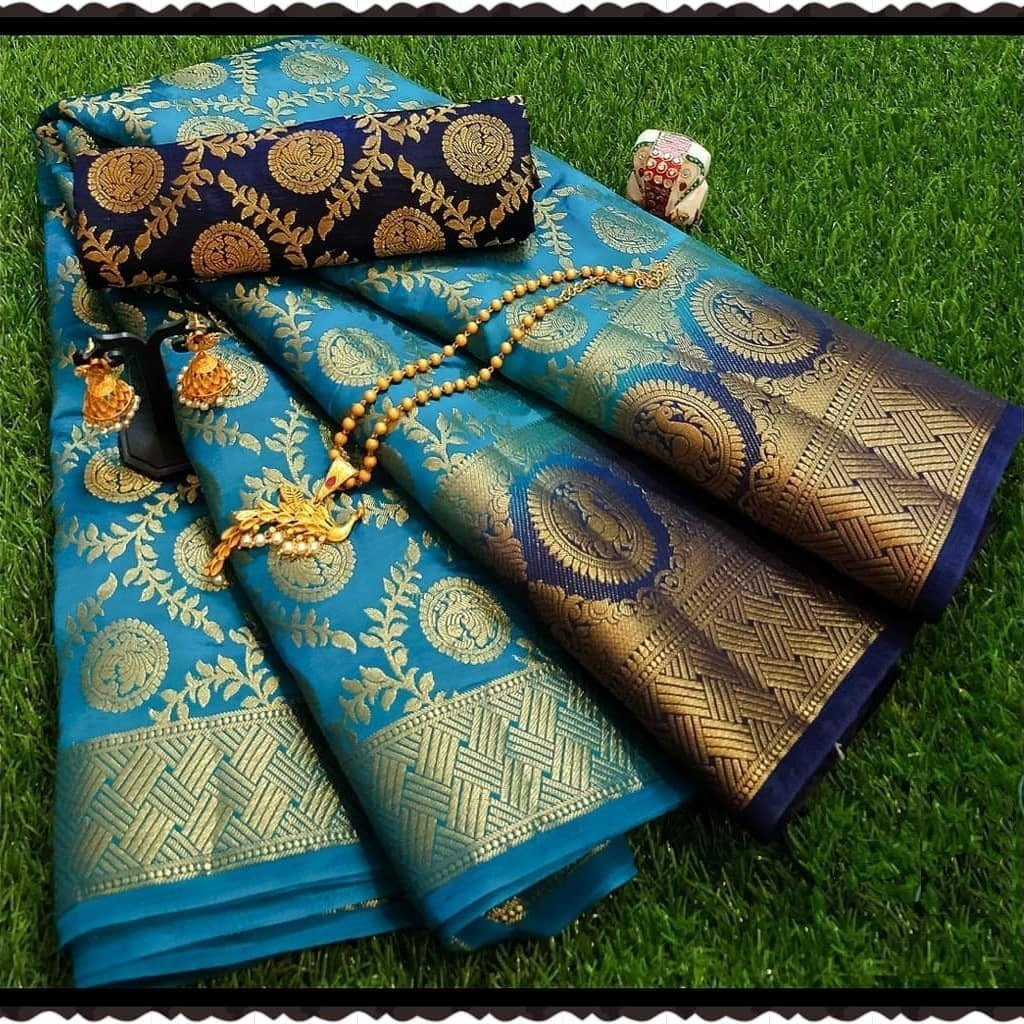 INOVATIVE SKY BLUE COLOUR SILK KANJIVARM SAREE - M147