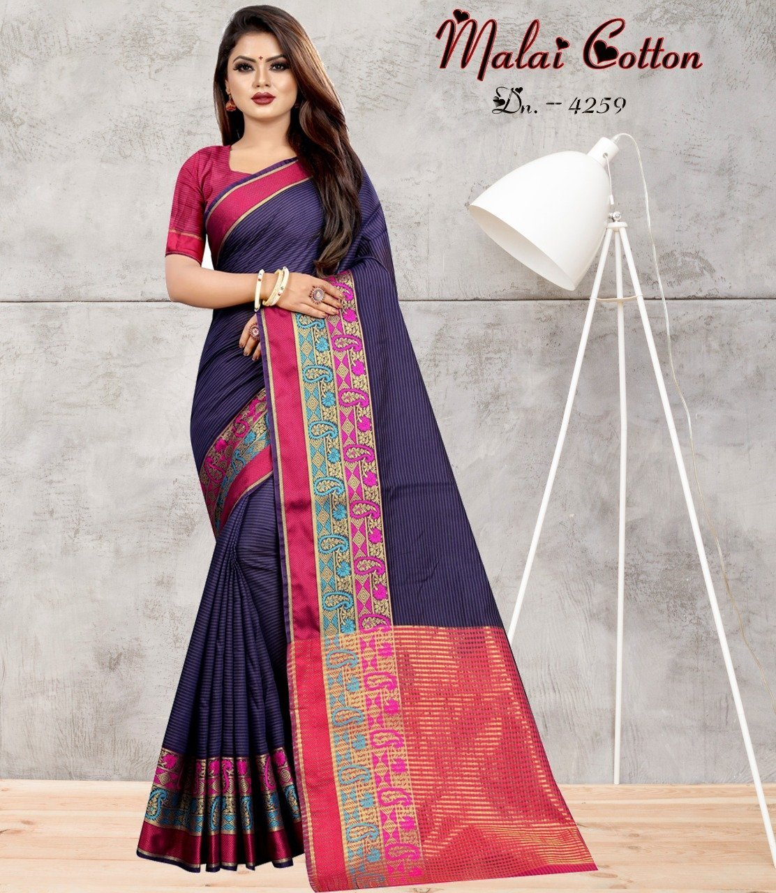 INOVATIVE DARK BLUE & PINK COLOUR SILK KANJIVARM SAREE - M319