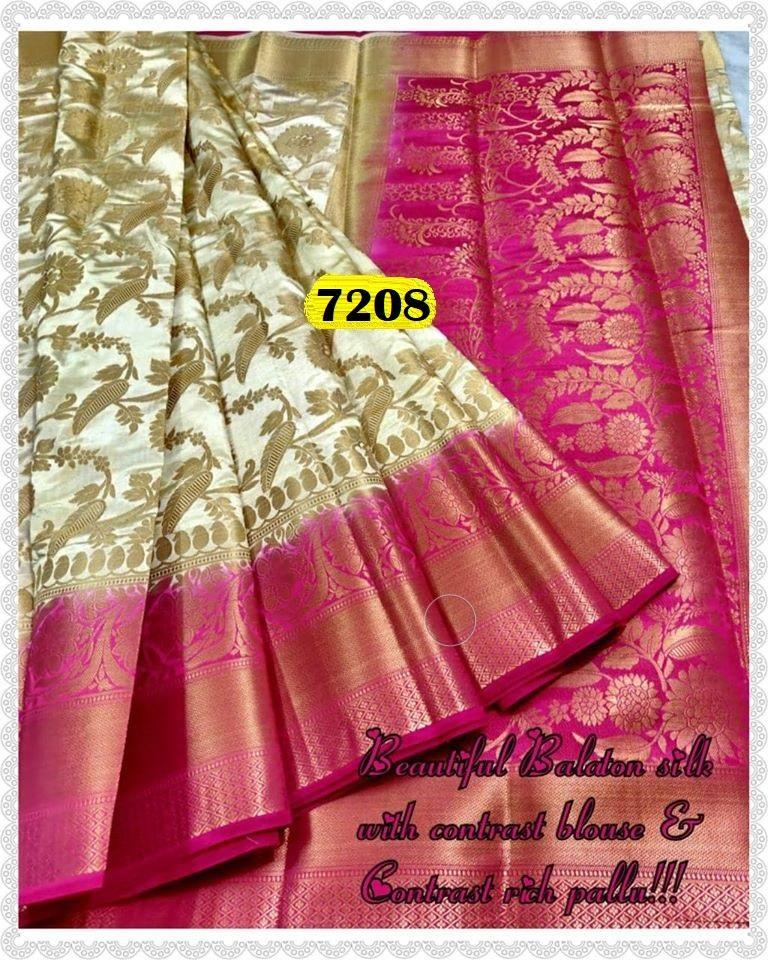 INOVATIV  WHITE &PINK  COLOUR SILK KANJIVARM SAREE - M35
