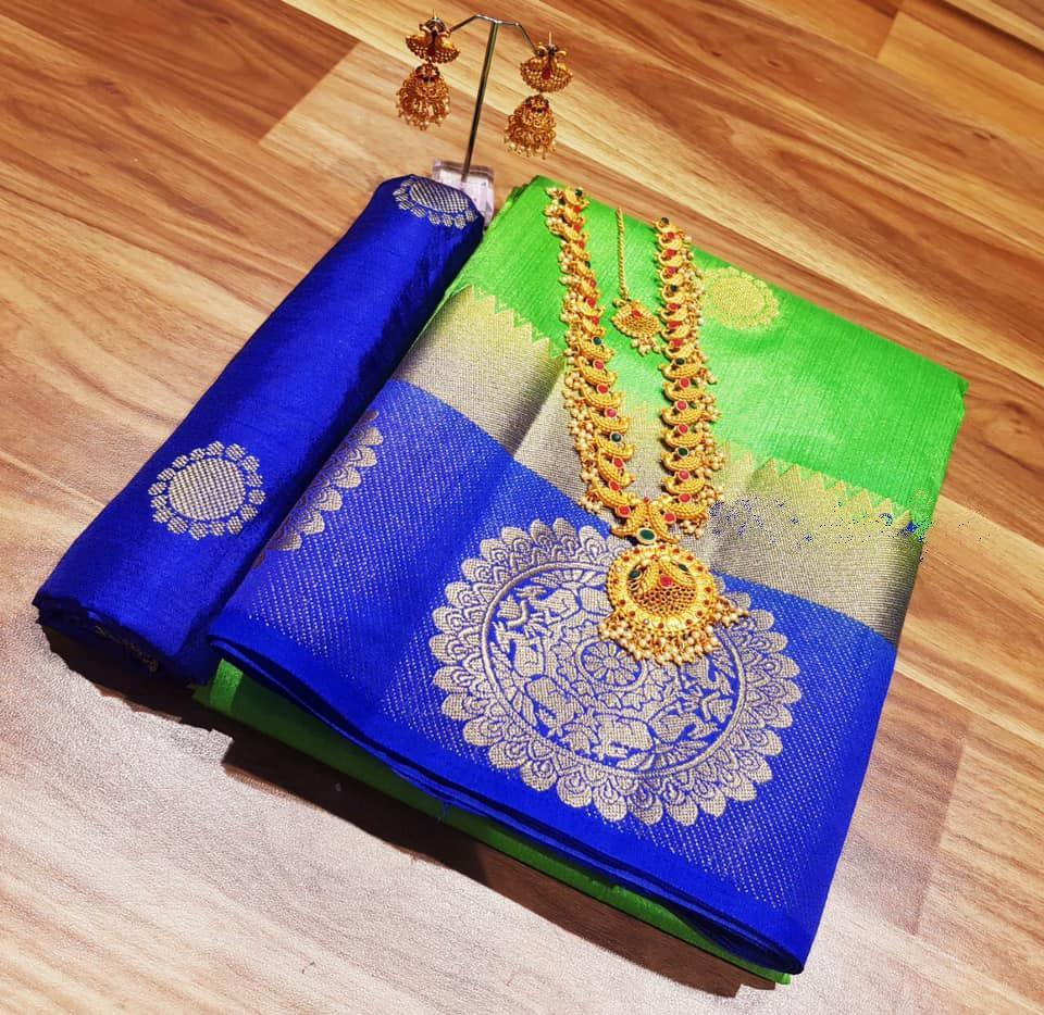 INOVATIV  BLUE & GREEN COLOUR SILK KANJIVARM SAREE - M45
