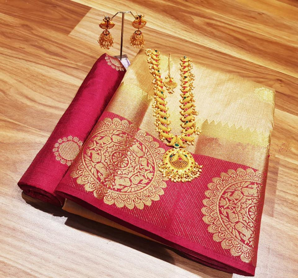 INOVATIV  CREAM & MAROON  COLOUR SILK KANJIVARM SAREE - M47