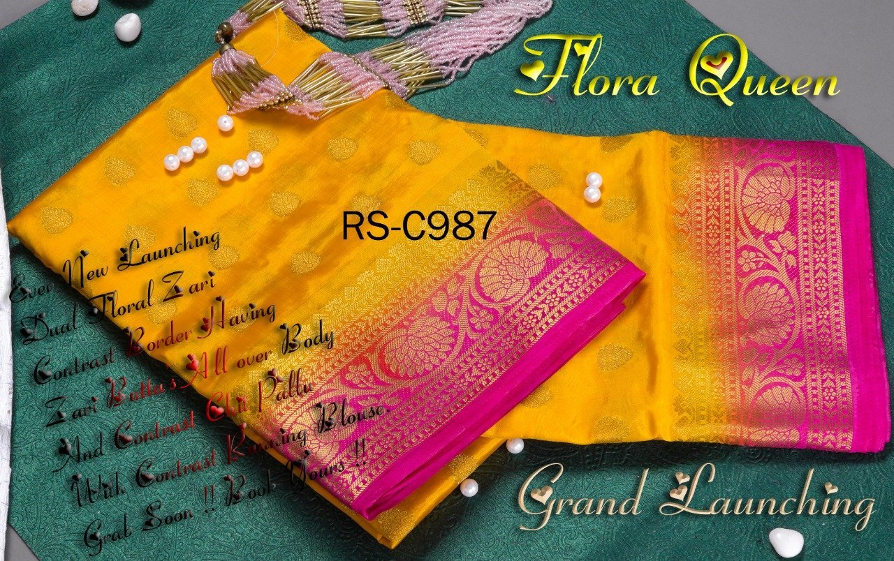 INOVATIV  YELLOW & PINK COLOUR SILK KANJIVARM SAREE - M93