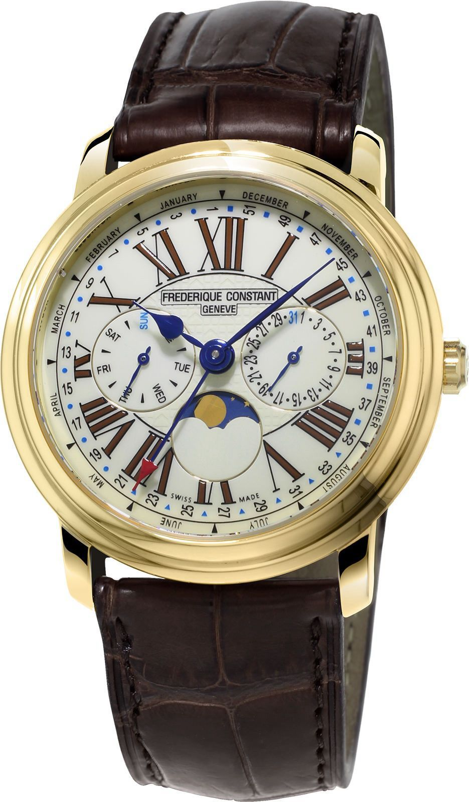 Gold Dial and Leather Strap Men's Watch