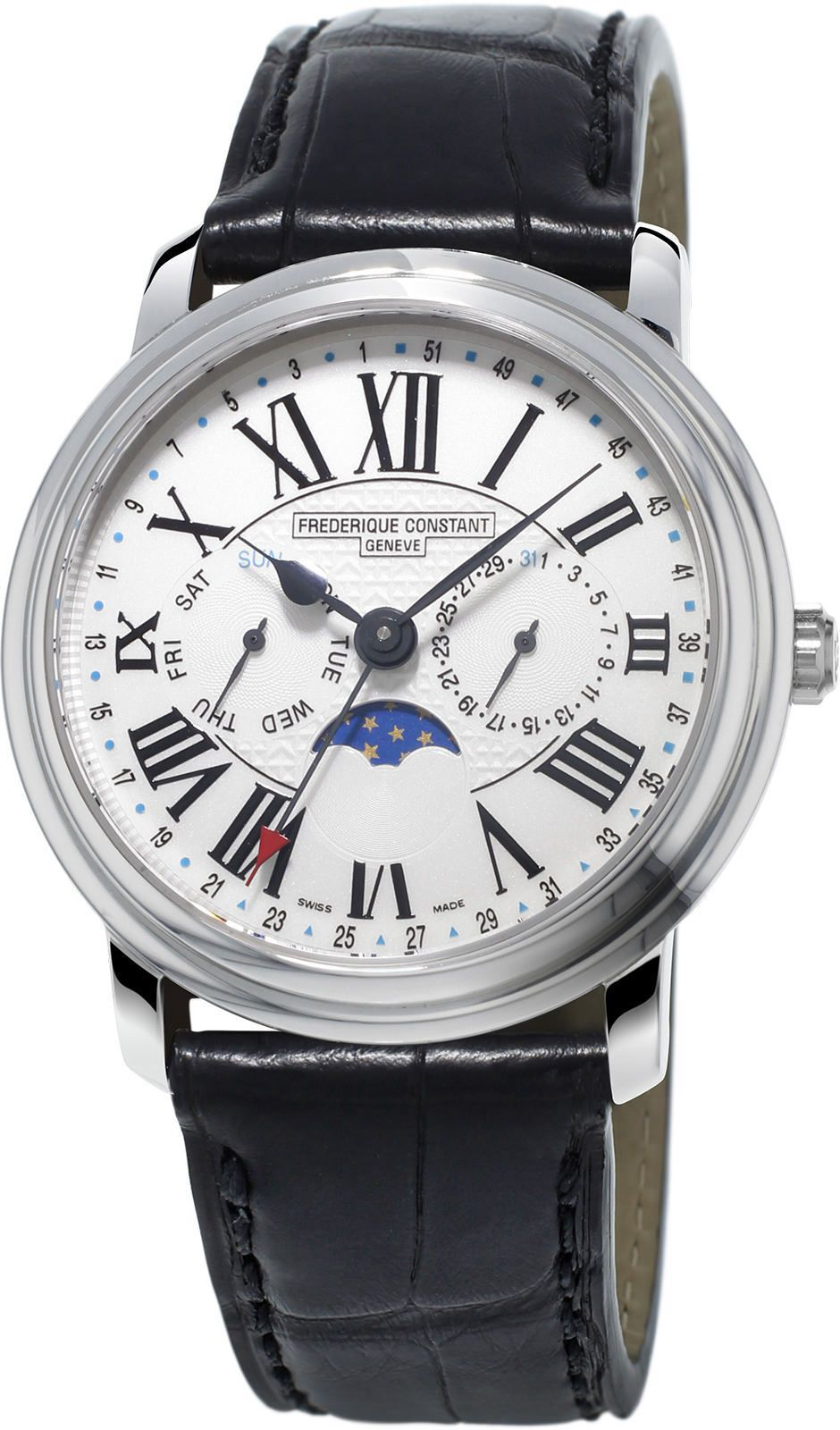Silver Dial and Leather Strap Men's Watch