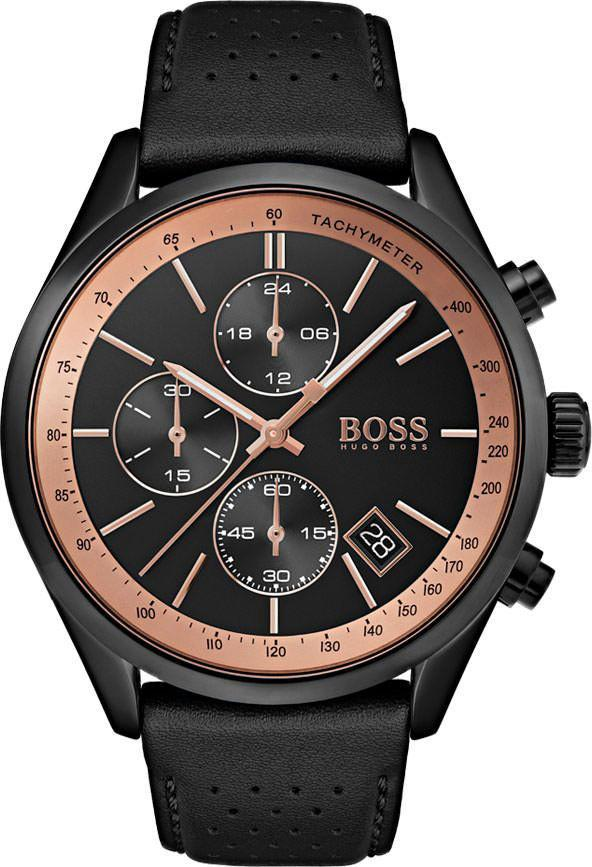 Black Dial and Leather Strap Men's Watch