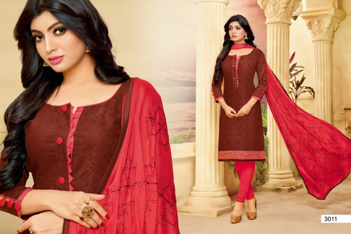 Adhesive  Maroon color Salwar Suit