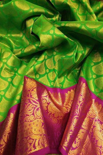2 Tone Ravishing Green And Pink Colored Festive Wear Soft Silk Designer Saree