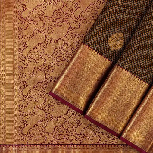 2 Tone Coloured Brown Soft Silk Designer Saree
