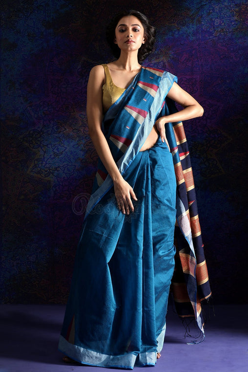 Adhesive blue  color Designer Saree