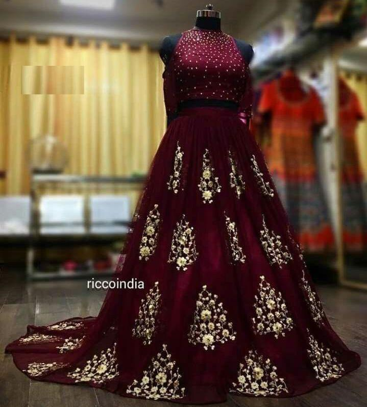 Trendy Maroon Color Embroidery Work Lehenga Choli