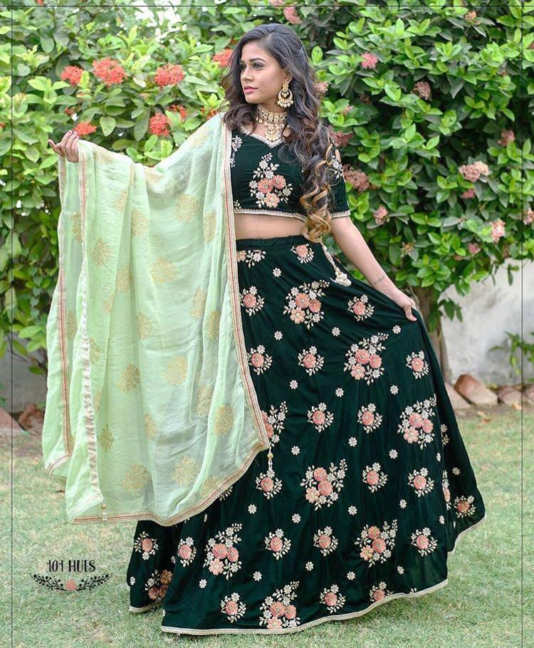 Fancy Green Color Embroidery Work Lehenga Choli