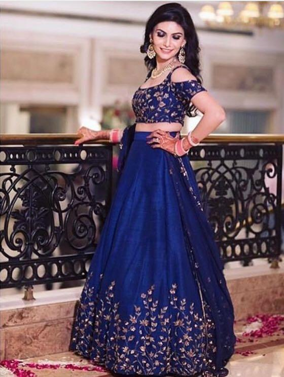 Rich Blue Color Embroidery Work Lehenga Choli