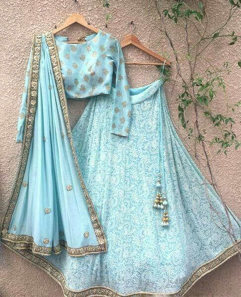 Out standing sky blu Color Embroidery Work Lehenga choli.