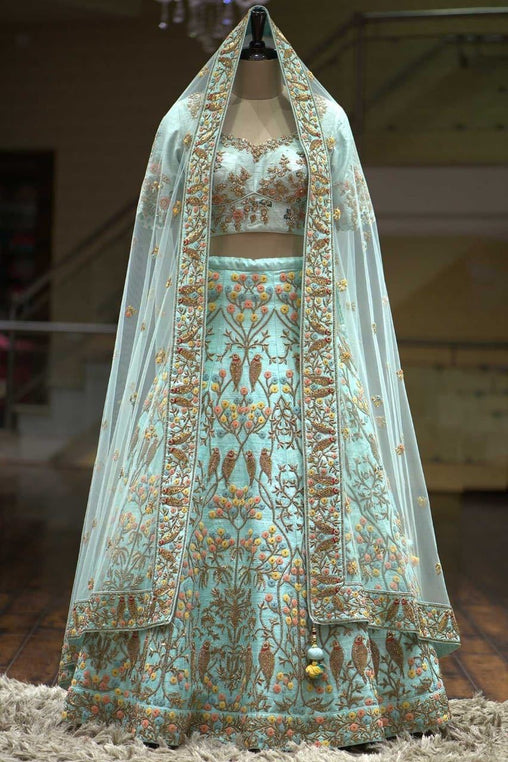 Out standing sky blue Color Embroidery Work Lehenga choli
