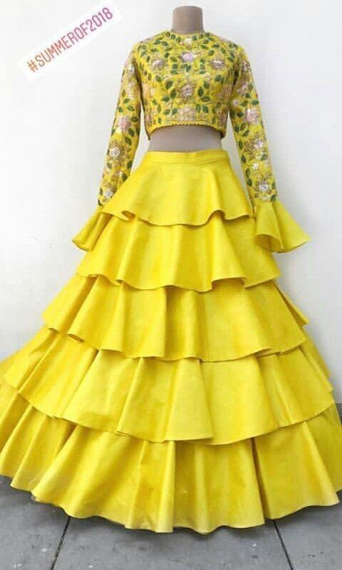 Adhesive Yellow Color Embroidery Work Lehenga Choli