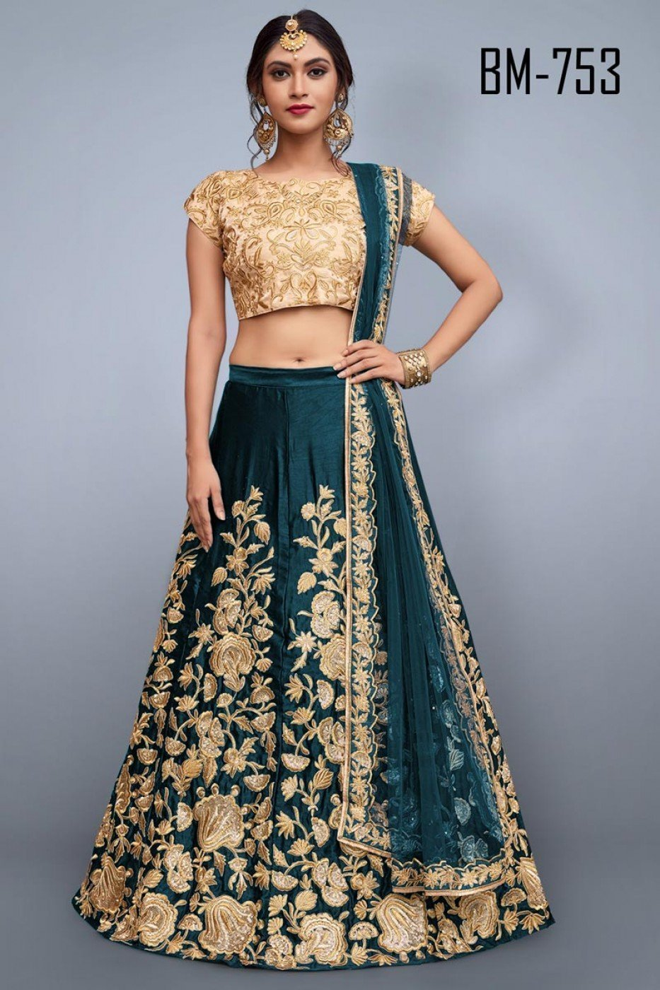 Alluring Rama Color Embroidery Work Lehenga Choli