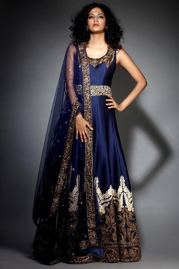 Out Standing Navy Blue Color Embroidery Work Lehenga Choli