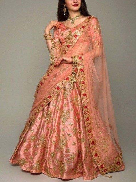 Alluring Peach Color Embroidery Work Lehenga Choli