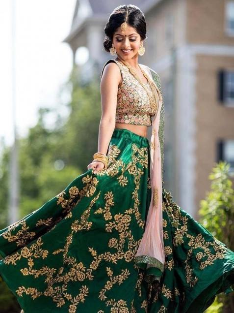 Awesome Green Color Designer Lehenga Choli