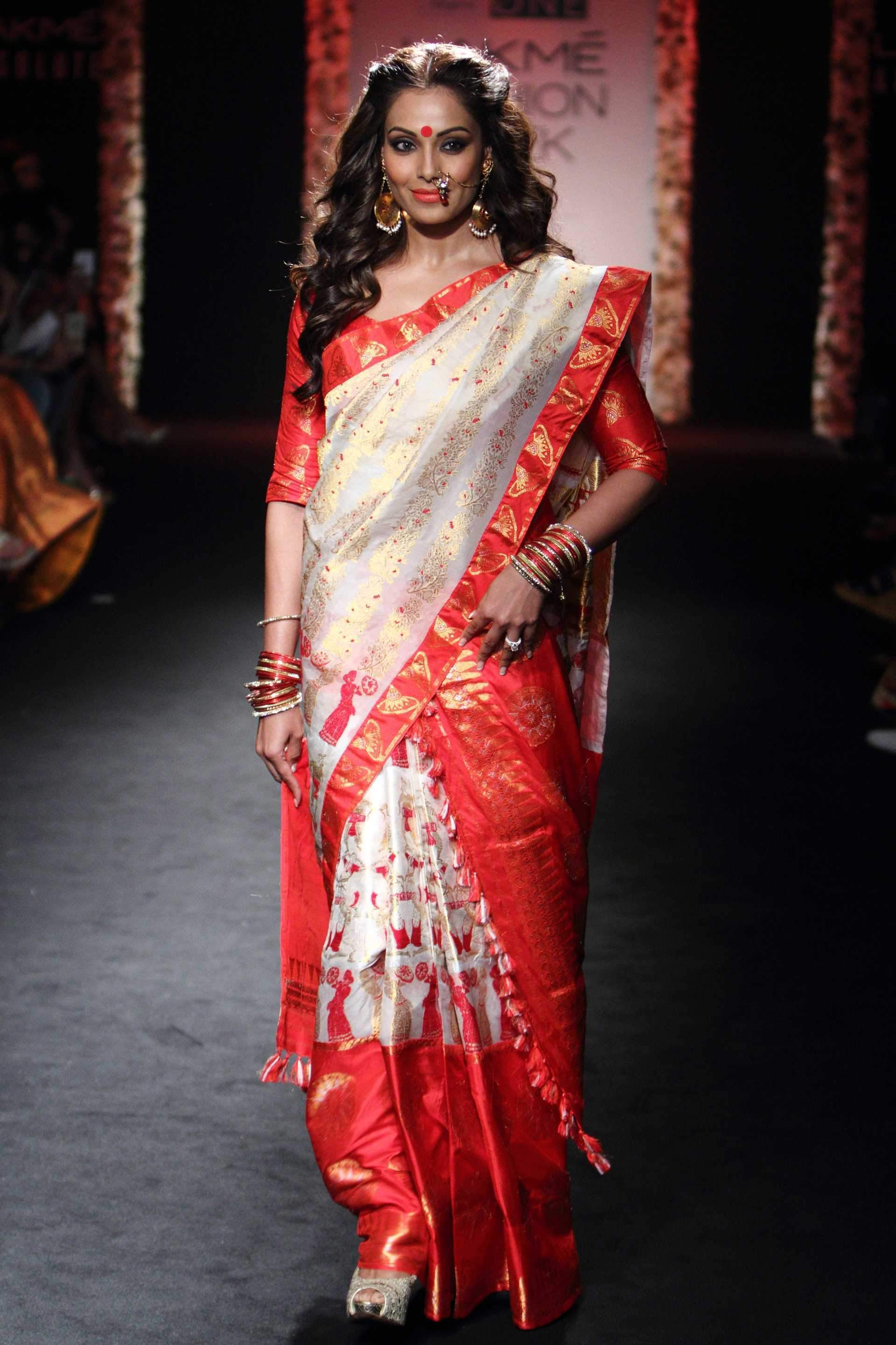 Adhesive White & Red Color Soft Silk Designer Saree