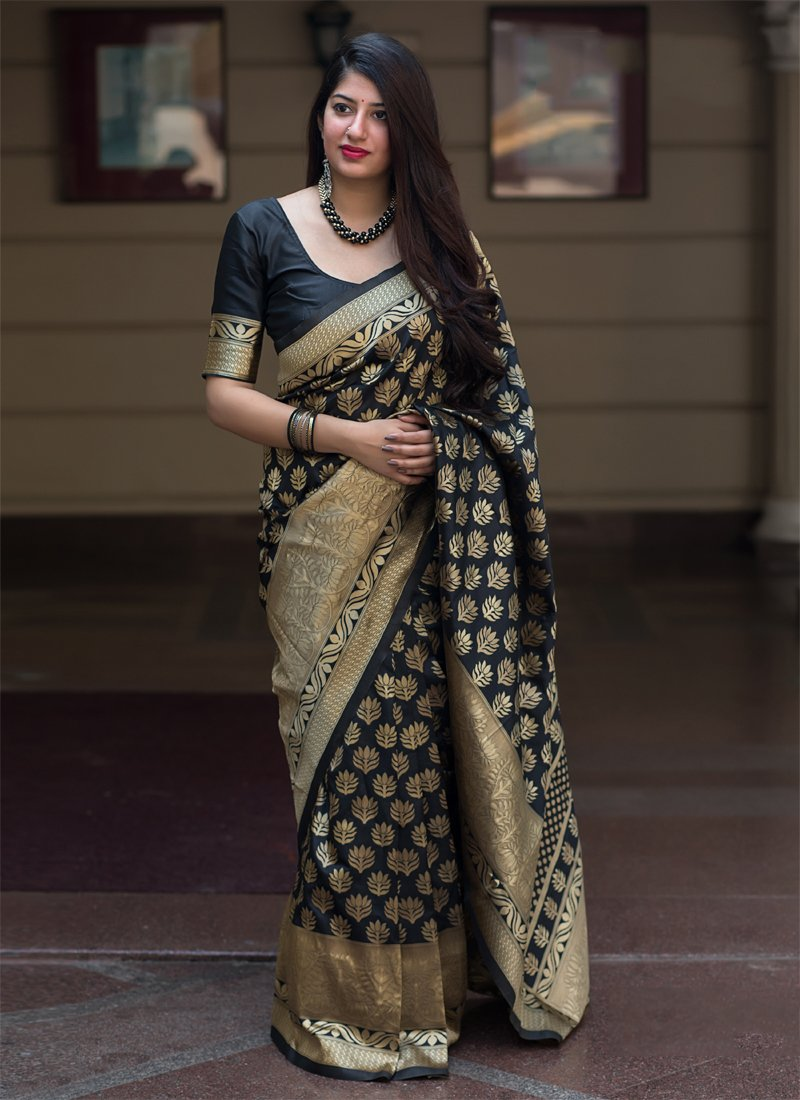 Gorgeous Black Color Soft Silk Designer Saree