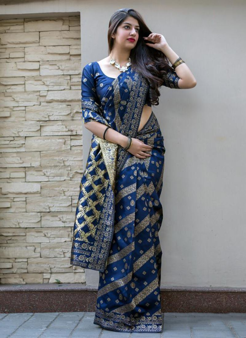 Trendy Blue Color Soft Silk Designer Saree