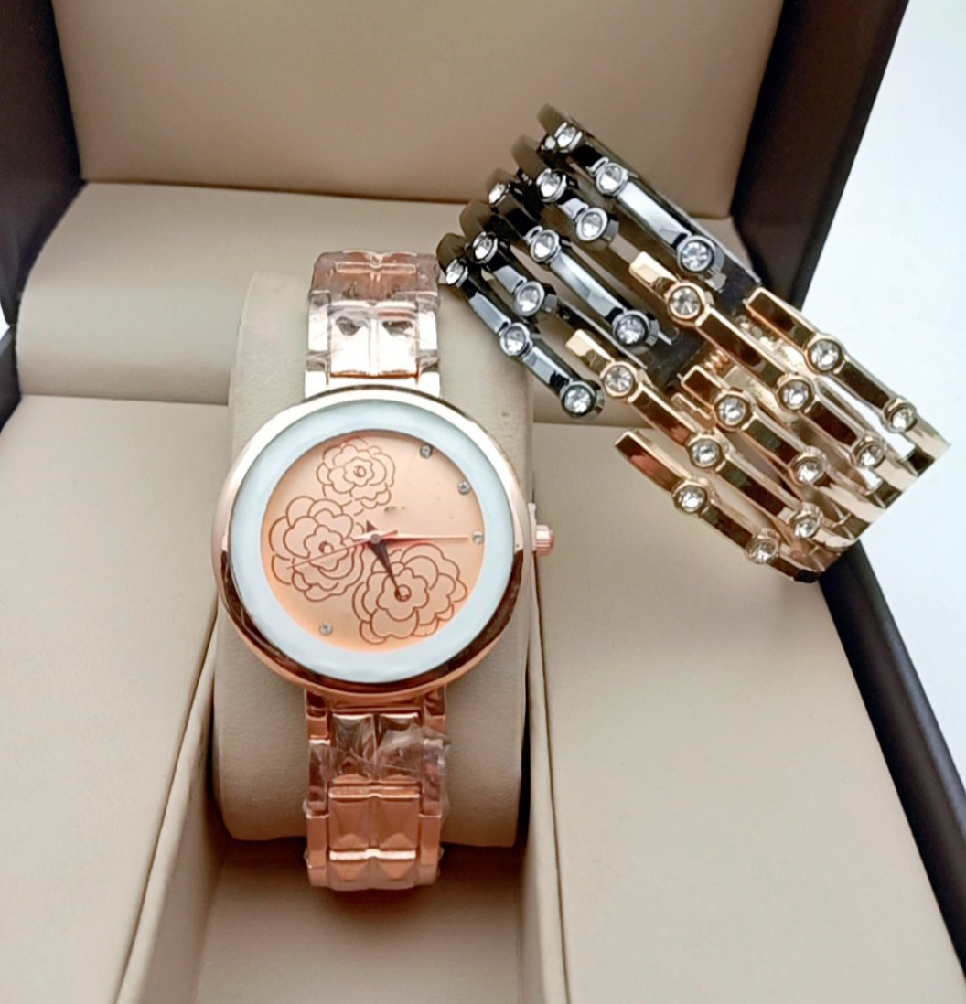 MRS.ROSE GOLD DIAMONDLY  ANALOGY Watch - For Girls