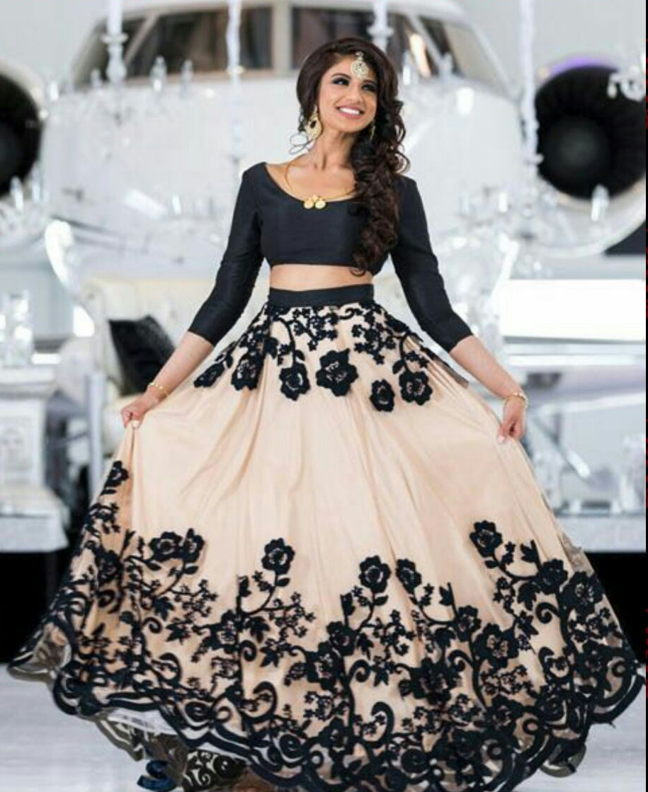 Beautiful Black And Light Peach Color Embroidery Work Lehenga Choli