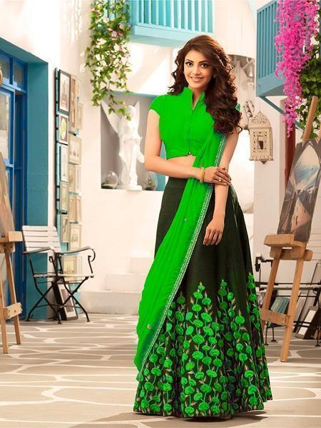 Eye Catching Green And Black Color Embroidery Work Lehenga Choli
