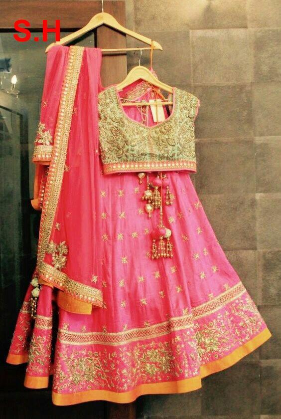 Beautiful Pink Colored Partywear Designer  Lehenga Choli