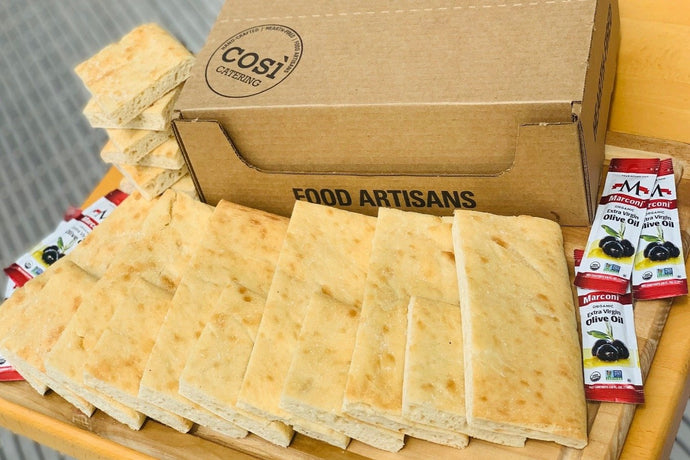 Original Baking Box: Così Bake at Home Original Flatbread (3 loaves), Organic Olive Oil (3 Pouches), and Kosher Salt (2 oz) - Cosi Home Delivery