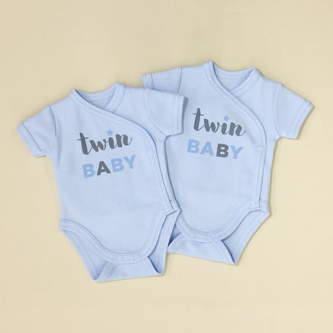 Image of Itty Bitty Baby Twin Baby Kimono Bodysuit Set